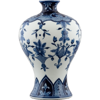 Classic Floral & Crosshatch Blue and White Pattern, Luxury Hand Painted Porcelain, 12 Inch Mantel Vase