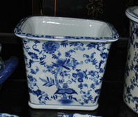 Blue and White Delicate Flower Vine - Luxury Handmade Chinese Porcelain - 10 Inch Rectangular Planter - Style 647