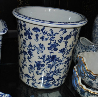 Blue and White Delicate Flower Vine, Luxury Handmade Chinese Porcelain, 10 Inch Wastebasket, Style 922
