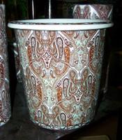 Earth Tone Paisley, Luxury Handmade Chinese Porcelain, 10 Inch Wastebasket, Style 922