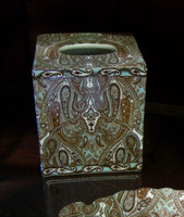Earth Tone Paisley, Luxury Handmade Chinese Porcelain, 6 Inch Boudoir - Boutique Tissue Box, Style M422