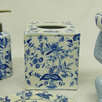 Blue and White Delicate Flower Vine, Luxury Handmade Chinese Porcelain, 6t x 5.25L x 5.25w Boudoir - Boutique Tissue Box, Style M422