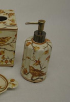 Creme and Orange Autumn Scene, Luxury Handmade Chinese Porcelain, 6 Inch Lotion or Soap Dispenser, Style G094 or N094