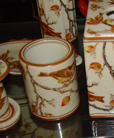 Creme and Orange Autumn Scene, Luxury Handmade Chinese Porcelain, 4 Inch Toothbrush Holder | Pen Cup, Style G722