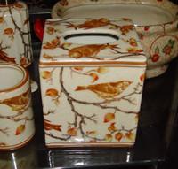 Creme and Orange Autumn Scene, Luxury Handmade Chinese Porcelain, 6 Inch Boudoir - Boutique Tissue Box, Style M422
