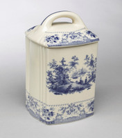 Blue and White Decorative Transferware Porcelain Cushion Shape Canister, 8t X 5w X 5d