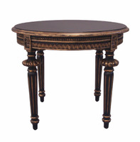 Custom Decorator - Hardwood Hand Carved Reproduction - Classic End | Side | or Lamp 24 Inch Low Round Table