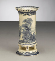 Blue and White Decorative Transferware Porcelain 7.5 Inch Tall Vase