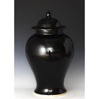 Finely Finished Porcelain Temple Jar, 21 Inch, Polished Black Finish