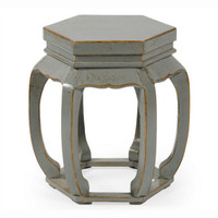 Chinese Hand Made, 21 Inch Wooden Hexagonal Stool, Accent Table, Distressed Grey Finish