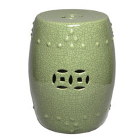 Finely Finished Ceramic Garden Stool, 16 Inch, Crackle Green Finish