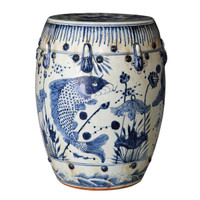 Finely Finished Ceramic Garden Stool, 17 Inch, Classic Blue and White Fish Design