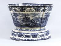 Blue and White Decorative Transferware Porcelain Planter, 16 Inch Oval Shape