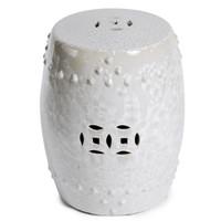 Finely Finished Ceramic Garden Stool, 17 Inch, Iridescent White Finish