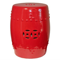 Finely Finished Ceramic Garden Stool, 17 Inch, Polished Lucky Red Finish