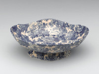 Blue and White Decorative Transferware Porcelain Bowl, 12 Inch Oval Shape