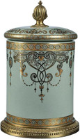 Luxe Life Celadon Flourish Finely Finished Porcelain and Gilt Bronze Ormolu, 10.5 Inch Decorative Covered Box