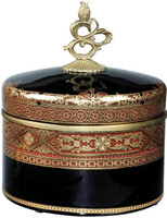 Ebony Black Glass and Gilt Bronze Ormolu Covered Box Decorative - Luxe Life -9.5""