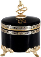 "Ebony Black Glass with Gold Greek Key Hand Painted Accents and Ormolu Mounts 10"" - Luxe Life Brand"