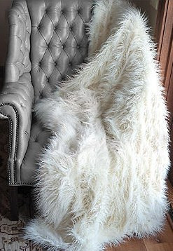 "Long Haired Tibetan Lamb Faux Fur Throw - Natural look & Luxuriously Soft - Oversized 58"" X 83"""