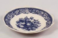 Blue and White Decorative Transferware Porcelain Bowl, 10.5 Inch Diameter