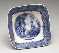 Blue and White Decorative Transferware Porcelain Bowl, 8.5 Inch Diameter