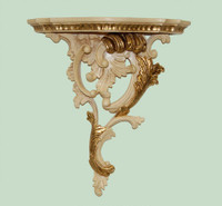 Classic Elements, Rococo Louis XV, 16t x 14.5w x 5.5d Serpentine Right Facing Shelf Wall Bracket Sconce, Custom Finish