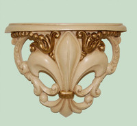 Classic Elements, Fleur de Lis 10.5t x 13w x 5.5d Demilune Shelf Wall Bracket Sconce, Custom Finish