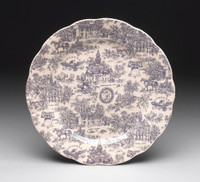 Blue and White Decorative Transferware Porcelain Plate, 14 Inch Diameter