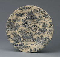Blue and White Decorative Transferware Porcelain Plate, 10 Inch Diameter 7040 AAA