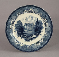 Blue and White Decorative Transferware Porcelain Plate, 10w X 10d X 1t | 7039