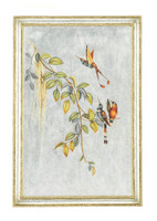 Luxe Life Hand Painted 38 Inch Left Facing Wall Panel Art, Metallic Silver Leaf Nature Design
