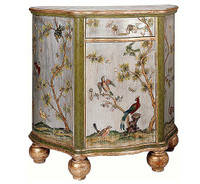Luxe Life Hand Painted 34 Inch Serpentine Bedside or Entry Chest - Metallic Silver Nature Design