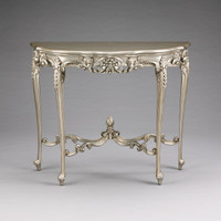French Rococo Louis XV Style - 40 Inch Entry Console Reproduction Carved Hardwood Table - Silver Metallic Luxurie Furniture Finish