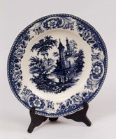 Blue and White Decorative Transferware Porcelain Plate, 10 Inch Diameter 7035 AAA