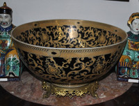 Ebony Black and Gold Lotus Scroll - Luxury Handmade Reproduction Chinese Porcelain and Gilt Brass Ormolu - 14 Inch Centerpiece Bowl - Style B927|78