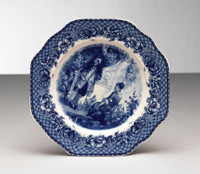 Blue and White Decorative Transferware Porcelain Plate | Courtship | Toile | Crosshatch Border | Floral Garlands - 1t x 10w x 10d