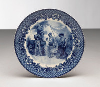 Blue and White Decorative Transferware Porcelain Plate, 8.5 Inch Diameter