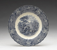 Blue and White Decorative Transferware Porcelain Plate, 10 Inch Diameter