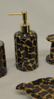Lavish Leopard Decorator Print, Luxury Handmade Chinese Porcelain, 6 Inch Lotion or Soap Dispenser, Style G094 or N094