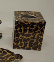 Lavish Leopard Decorator Print, Luxury Handmade Chinese Porcelain, 6 Inch Boudoir - Boutique Tissue Box, Style M422