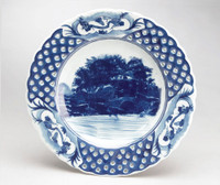 Blue and White Decorative Transferware Porcelain Plate, 9.5 Inch Diameter