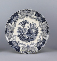 Blue and White Decorative Transferware Porcelain Plate, 12 Inch Diameter