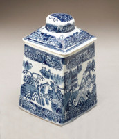 Blue and White Transferware Porcelain Jar, 8 Inches Tall 7024 AAA