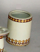 Neo Classical Ivory and Gold, Luxury Handmade Reproduction Chinese Porcelain, 4 Inch Toothbrush Holder | Pen Cup, Style G722