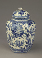 Blue and White Transferware Porcelain Jar, 10 Inches Tall