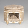 A Louis Style Dog House or Cat Condo - 24 Inch Bed with Tufted Cushion and Top - Painted White and Gold Trim Luxurie Furniture Finish - Damask Upholstery