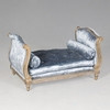 A Palace of Versailles Louis French Daybed for Pampered Dog or Cat - 30 Inch Bed with Cushion and Bolster Pillows - Metallic Silver Gilt Luxurie Furniture Finish NF15 with Tufted Pale Blue Velvet Upholstery 076