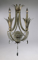 Feuille de Laurier - Rose Two Light Wrought Iron - 24 Inch Wall Bracket Sconce - Bronze Finish - Draped with Crystal
