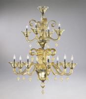 Transparent Golden Teak Glass Chandelier - Contemporary Style - Twelve Lights